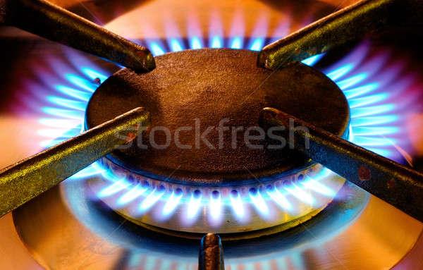 öreg benzin operáció kép meleg színek Stock fotó © akarelias