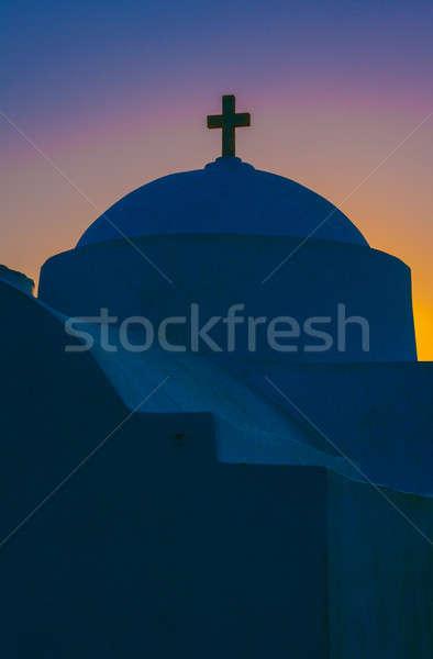 Grecki prawosławny kaplica świcie wyspa Świt Zdjęcia stock © akarelias