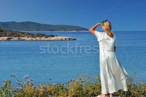 Manhã ver loiro bela mulher espetacular Foto stock © akarelias