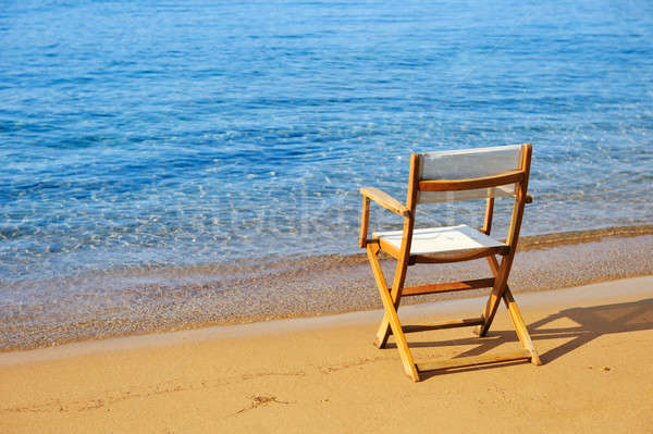 Chair on a golden sandy beach Stock photo © akarelias