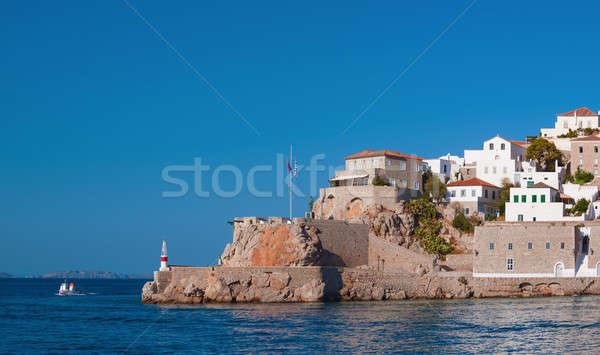 Entrada porta ilha histórico Grécia mar Foto stock © akarelias