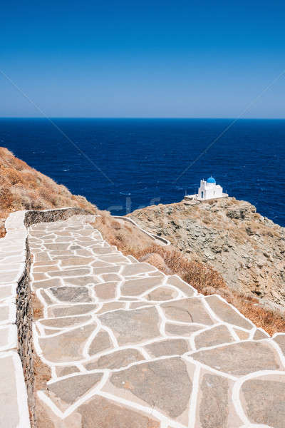 Stairway to the chapel of 7 Martyrs, Sifnos, Greece Stock photo © akarelias