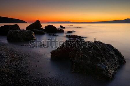 Plaj Yunanistan akşam karanlığı güney doğa yaz Stok fotoğraf © akarelias