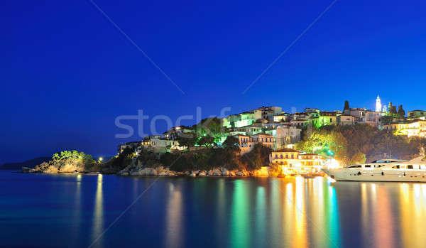 Noite imagem ilha Grécia quadro grego Foto stock © akarelias