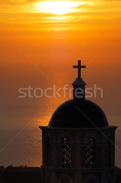 Foto stock: Igreja · santorini · nascer · do · sol · imagem · grego · ilha