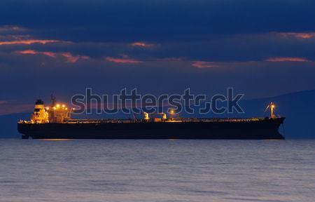 Handlowych statku zmierzch obraz kupiec Zdjęcia stock © akarelias