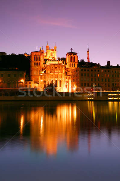Lyon akşam karanlığı bazilika katedral her ikisi de Stok fotoğraf © akarelias