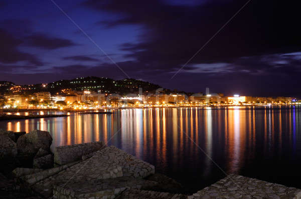 The city of Cannes, France, at night Stock photo © akarelias