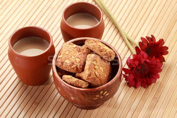 Foto d'archivio: Indian · ceramica · tè · occhiali · biscotti
