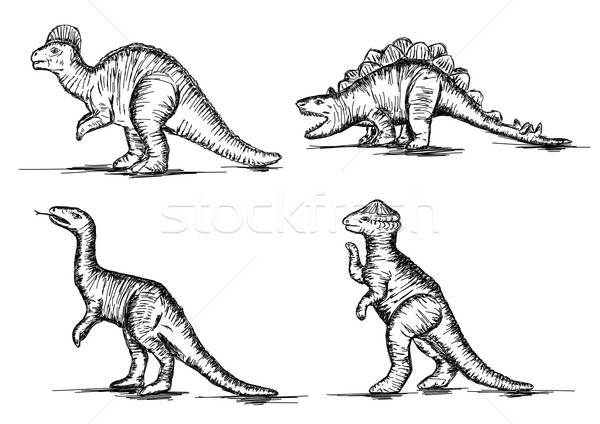Prehistoric Jurassic Dinosaurs Reptiles Sketch Vector Illustrati Stock photo © Akhilesh