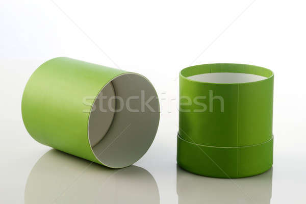Open Green Cylinder Card Board Box for Packaging Mockups Stock photo © Akhilesh