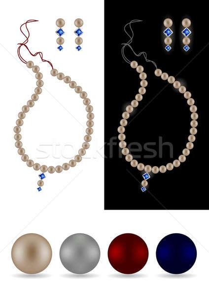 Gyöngy nyaklánc fülbevalók négy különálló gyöngyök Stock fotó © Akhilesh