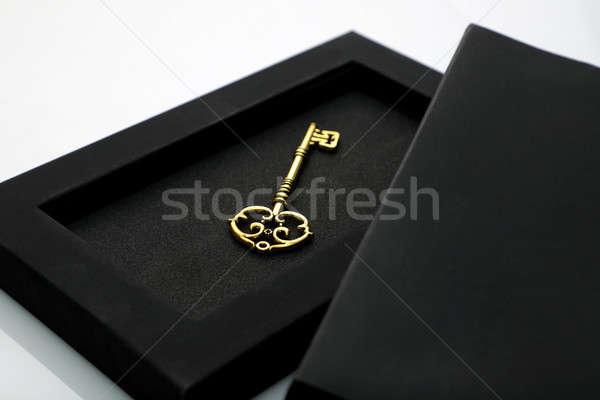 Antik arany kulcs fekete doboz Stock fotó © Akhilesh