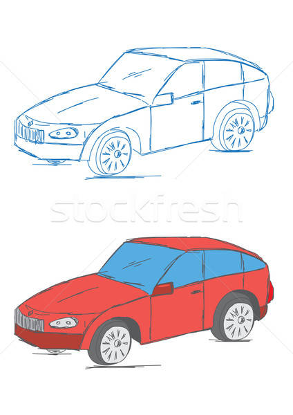 Kézzel rajzolt autó jármű rajz szállítás modern Stock fotó © Akhilesh