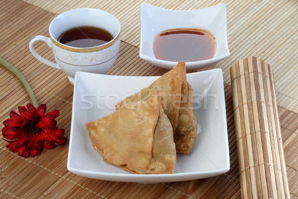 Indian Food Spicy Samosa with Tea and Chutney Stock photo © Akhilesh