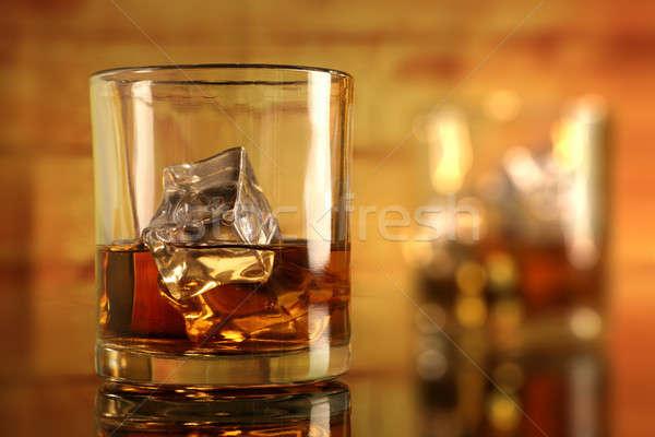 Whiskey üveg jégkockák alkohol hideg homály Stock fotó © Akhilesh