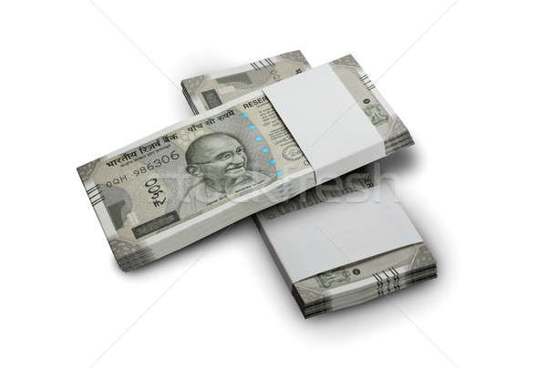 Indian Currency Rupee 500 Bank Notes Bundle on White Background Stock photo © Akhilesh