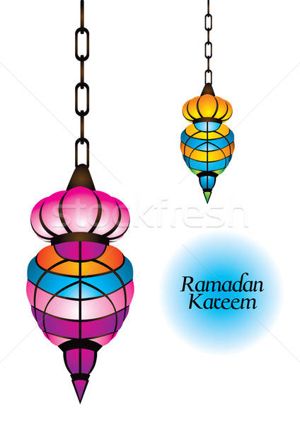 Beautiful arabic lamp with ramadan kareem text Stock photo © Akhilesh