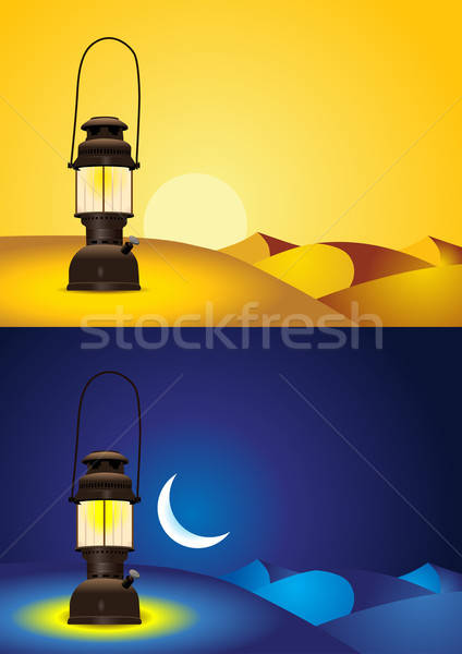 Antique lantern in the desert - day and night version Stock photo © Akhilesh