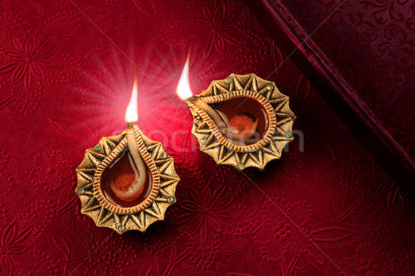 Beautiful Golden Diwali Diya Lamp Lights Stock photo © Akhilesh
