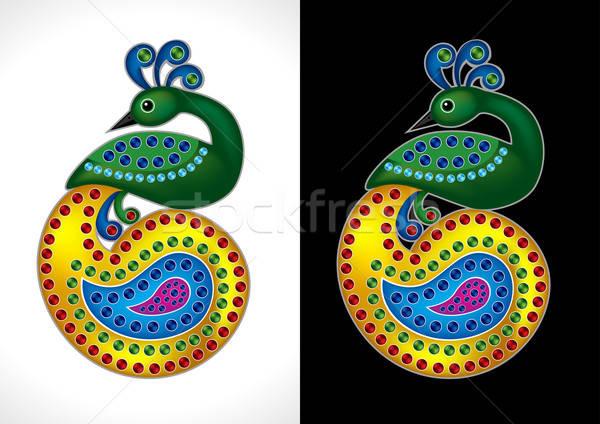 Belle paon coloré nature design beauté Photo stock © Akhilesh