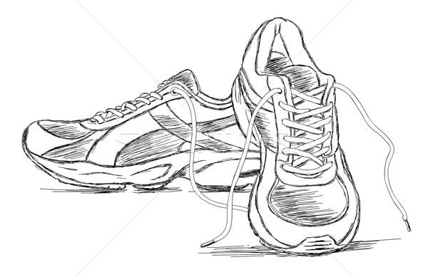 Handmade Sneakers Sports Shoe Vector Sketch Illustration Stock photo © Akhilesh