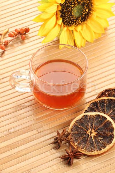 ハーブティー カップ レモン 木製 ヒマワリ ストックフォト © Akhilesh