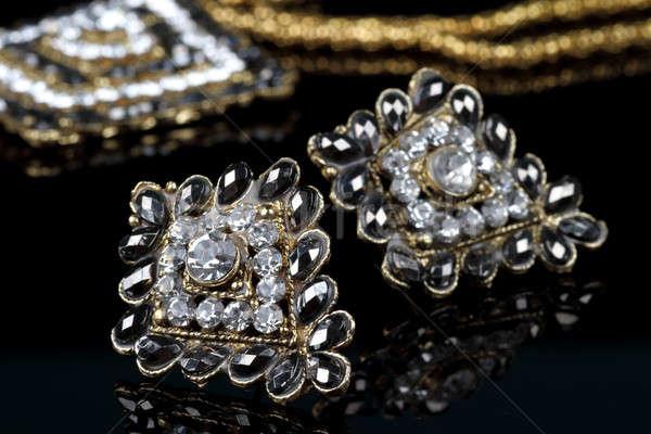Noir diamant bijoux boucles d'oreilles paire Photo stock © Akhilesh