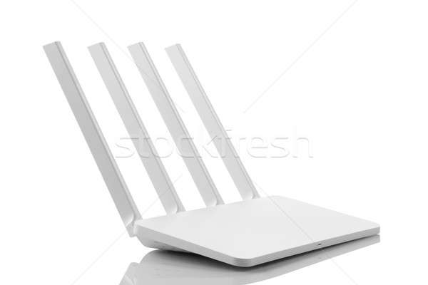 White Color Wireless WiFi Modem Router 4 Antenna Stock photo © Akhilesh
