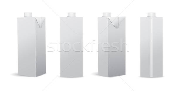 Set of Blank Milk / Juice Carton Vector Illustrations Mockup Stock photo © Akhilesh