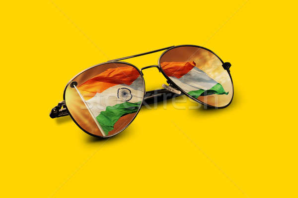 Indian Flag Reflected on Aviator Sunglasses Stock photo © Akhilesh