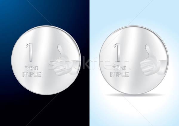 Indian One Rupee Coin - Vector Illustration Stock photo © Akhilesh