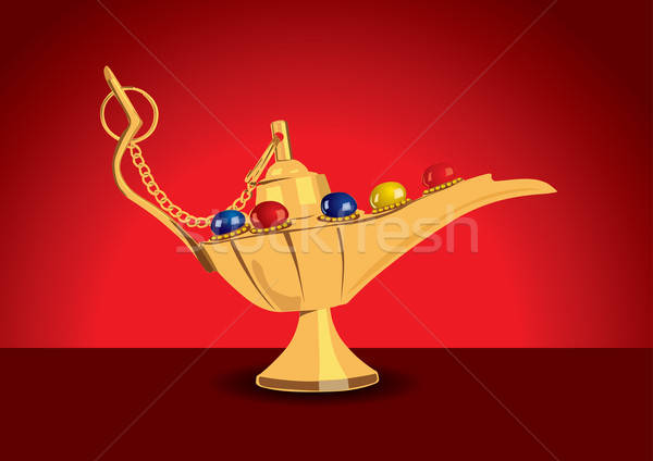 Detailed vector illustration of aladdin's magic lamp with pearls Stock photo © Akhilesh
