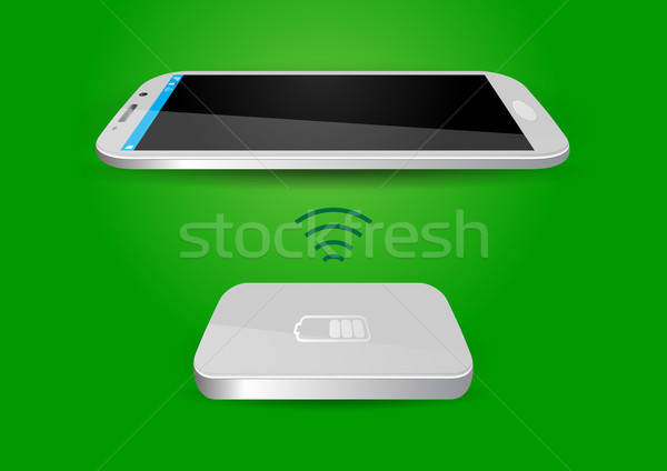 Wireless Battery Charger and Smartphone or Tablet - Vector Illus Stock photo © Akhilesh