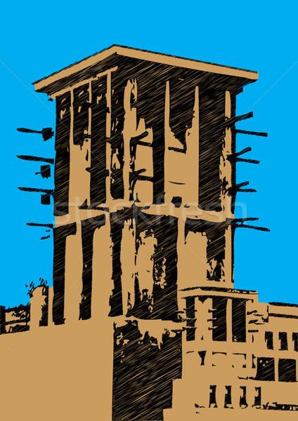 dubai wind tower illustration scribble Stock photo © Akhilesh
