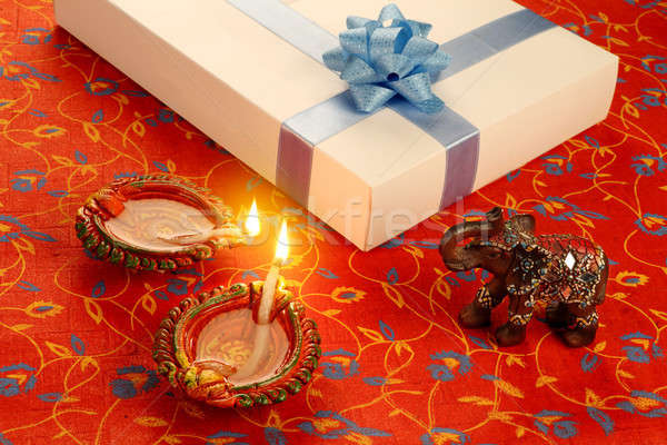 Indian Festival Diwali Diya with Gift Box Stock photo © Akhilesh