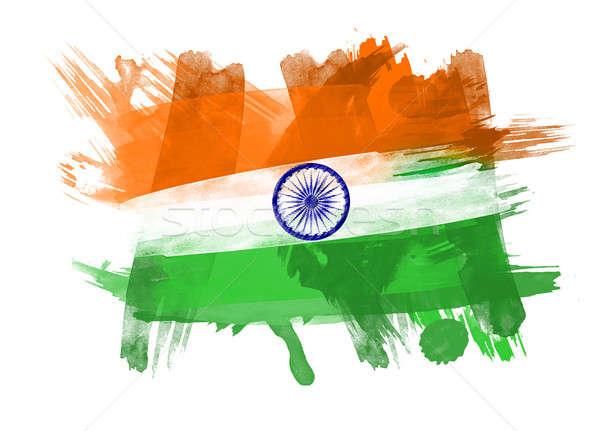 Indië vlag zwarte achtergrond teken groene Stockfoto © Akhilesh