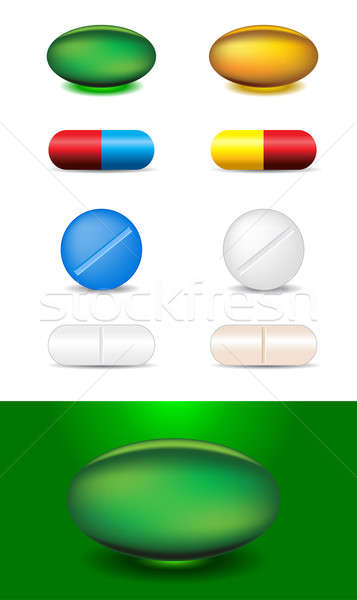 set of different capsules and medicines Stock photo © Akhilesh