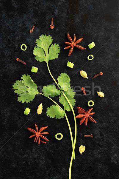 Taze otlar kişniş yaprakları star anason Stok fotoğraf © Akhilesh