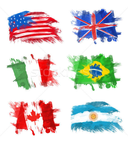 Stock photo: Flags - America, England, Italy, Brazil, Canada and Argentina