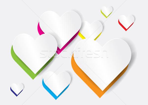 ストックフォト: 抽象的な · 心臓の形態 · 紙 · 愛 · 背景 · 色