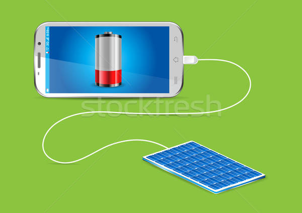 Charging a mobile phone with a Solar powerbank - vector illustra Stock photo © Akhilesh