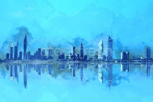 Dubai arranha-céus pintura Emirados Árabes Unidos céu Foto stock © Akhilesh
