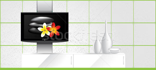 Home Interior - LCD tv on the wall and decorations - vector Stock photo © Akhilesh