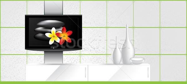 Otthon belső LCD tv fal díszítések Stock fotó © Akhilesh