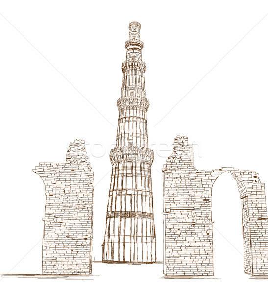 New delhi Inde design Voyage brique architecture Photo stock © Akhilesh