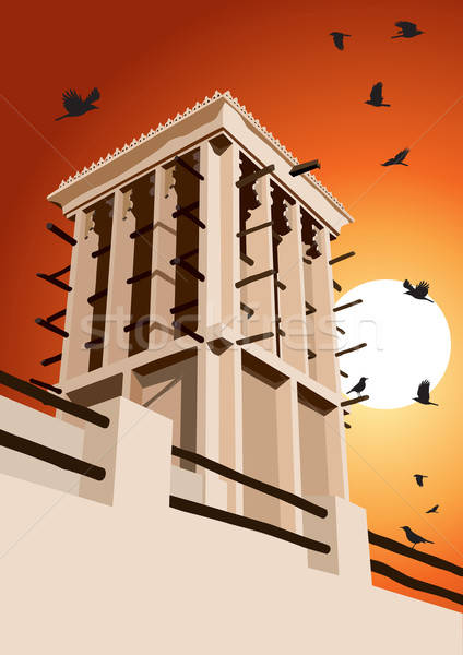 Historical Wind Tower and Birds Vector Illustration Dubai, Unite Stock photo © Akhilesh