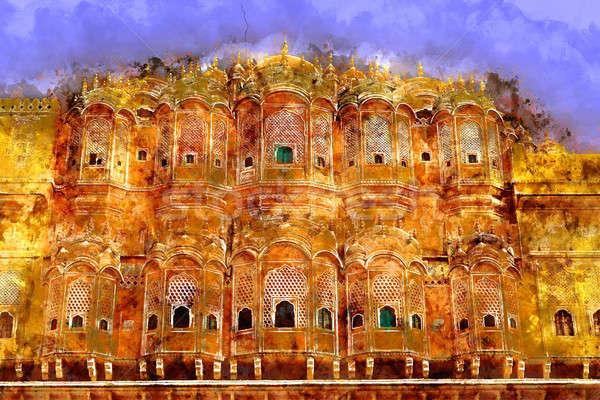 Szél palota építkezés festmény Ázsia ősi Stock fotó © Akhilesh