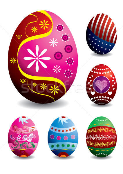 Set of 6 vector easter eggs Stock photo © Akhilesh