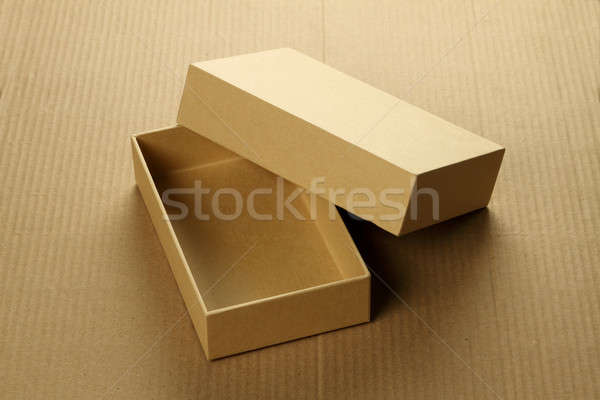 Recycle Blank Card Board Box for Mockup on Corrugated Background Stock photo © Akhilesh